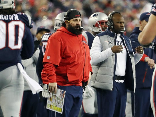 Defensive Coordinator Matt Patricia of the New England Patriots  reacts in the second half during the AFC Championship Game against the Jacksonville Jaguars at Gillette Stadium on January 21, 2018, in Foxborough, Mass. Patricia is expected to be the 27th head coach in Detroit Lions history.