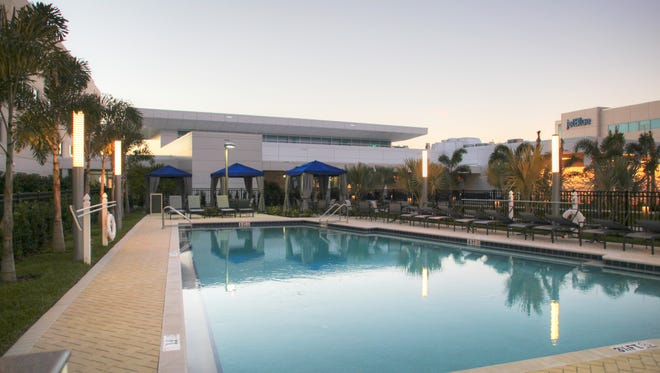 The pool area of JetBlue's new 'The Lodge at OSC.'