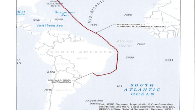 The path of a proposed fiber-optic cable connected the U.S. and Brazil.