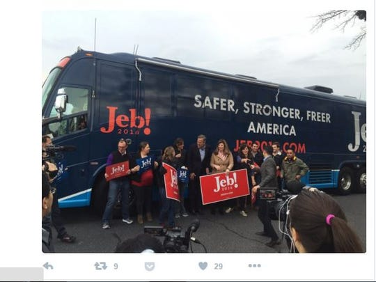 The Jeb Bush campaign tweeted out this photo of the candidate with supporters a little earlier. It's not clear exactly where it was taken, but Bush started his day in Greenville.
