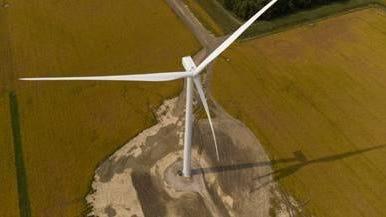 A drone view of a Gratoit County wind turbine.