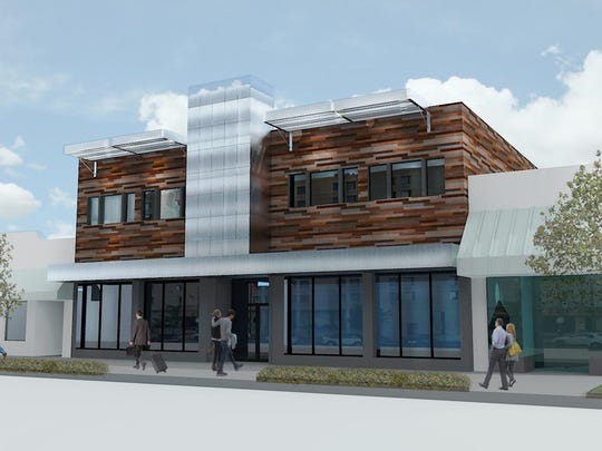 Conceptual drawing of the future exterior of the 318 Building, the former Park Central building in downtown Appleton.