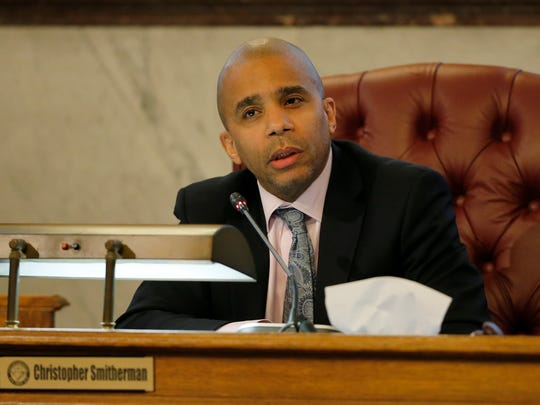 Council member Christopher Smitherman speaks about why he does support the current funding proposal during a meeting of the City Council finance committee at City Hall in downtown Cincinnati on Monday, Nov. 27, 2017. The finance committee met Monday to hear from community members and cast a vote on a funding plan for FC Cincinnati's soccer-specific stadium.