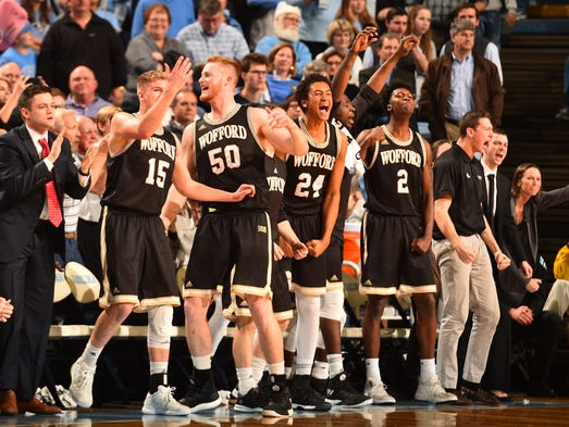 Dec. 20: Wofford players celebrate during the fine