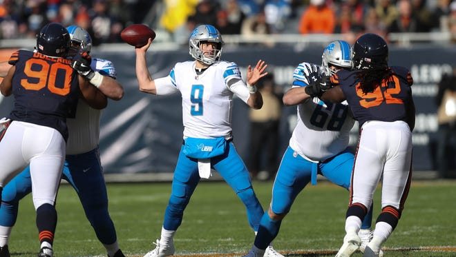 Matthew Stafford passes against the Chicago Bears in the first quarter of the Detroit Lions' 27-24 win Sunday, Nov. 19, 2017 at Soldier Field in Chicago.