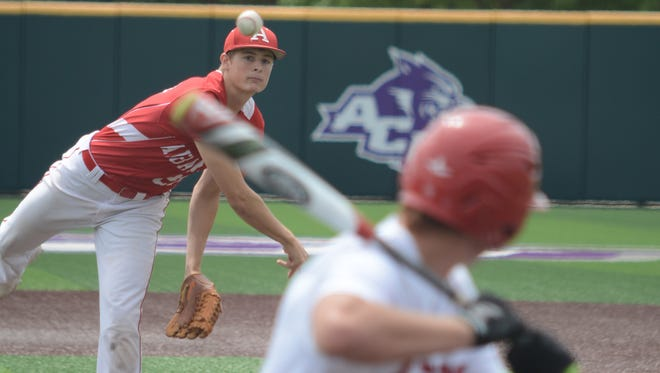 Albany starter Ryan Hill throws a pitch during the Lions' 10-0 win over Anson in Game 2 of a best-of-three Region I-2A quarterfinal series Saturday, May 27, 2017 at Abilene Christian University's Crutcher Scott Field.