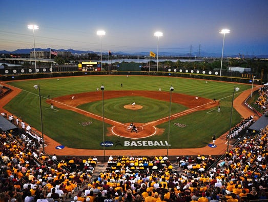 A view of Packard Stadium during the game between ASU and Milwaukee during the Tempe regional of the 2010 NCAA baseball tournament.