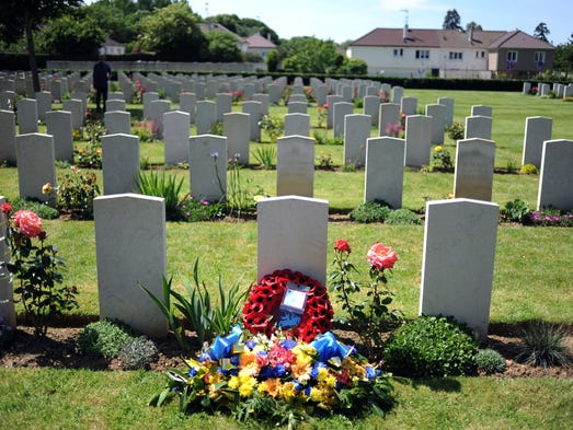British veterans laid a wreath at the german cemetery in Ranville, France marking the 70th anniversary of D-Day on June 6.