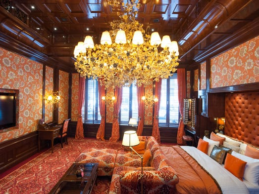 The Suite of Orange at Hotel Estherea, Amsterdam: Hotel Estherea takes a maximalist approach to its interior design, and treads the fine line between plush extravagance and gaudiness with aplomb. This is particularly apparent in the lavish Suite of Orange, which lives up to its name; decked out in various shades of orange with plenty of mahogany touches, it features a gorgeous chandelier and high-tech amenities such as massive flat-screen TVs and iPads upon request. The hotel's location on the Singel canal is picturesque, and well positioned for exploring Amsterdam's attractions.