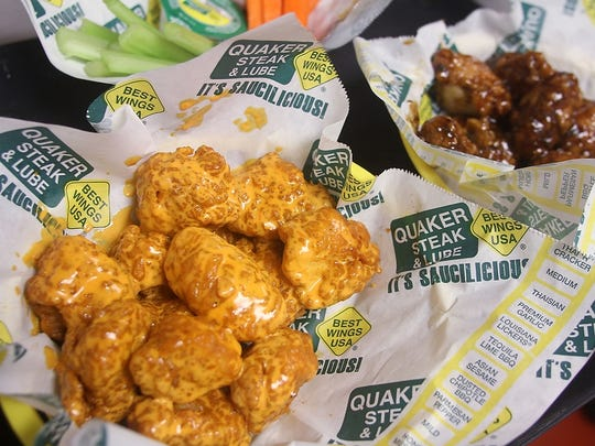 Medium and cajun wings at the newly opened Quaker Steak & Lube.