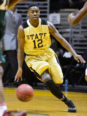 Alabama State's Jamel Waters (12) drives against Mississippi Valley State at the ASU campus in Montgomery, Ala. on Saturday January 11, 2014.