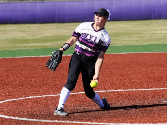 Wylie pitcher Kaylee Philipp (3) finishes her motion