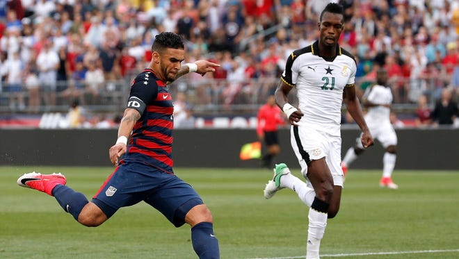 Dom Dwyer #14 of the United States shoots by  defender John Boye #21 of Ghana in the first half during an international friendly between USA and Ghana at Pratt & Whitney Stadium on July 1, 2017 in East Hartford, Connecticut.