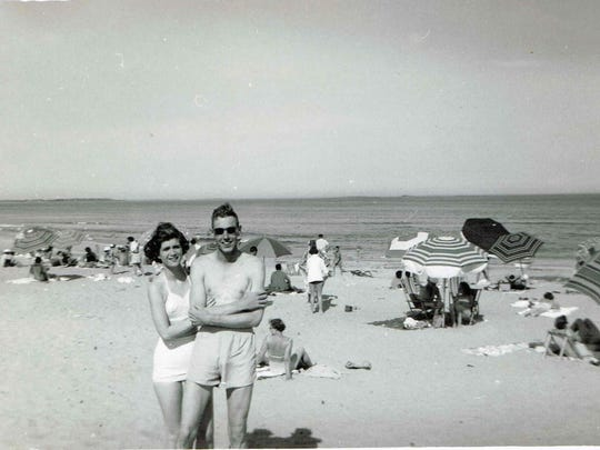 Caroline and Robert Armitage at the beach in the early 1950s.