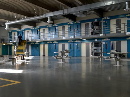 California State Prison in Los Angeles County is photographed during a tour in December.