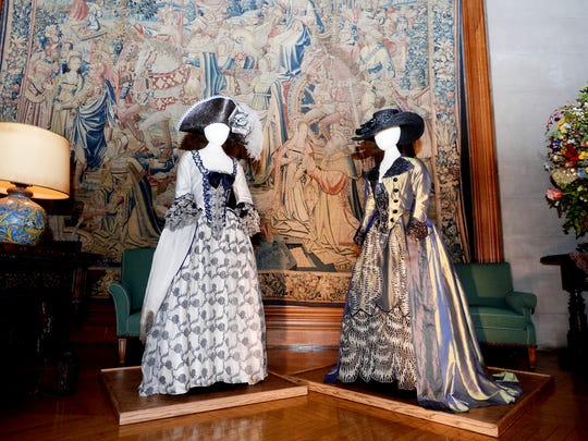 "Costumes from ""Sleepy Hollow"" on display in the Tapestry Gallery. Though worn by background actress, the shimmering costumes are as elaborate and detailed as those created for lead actors."