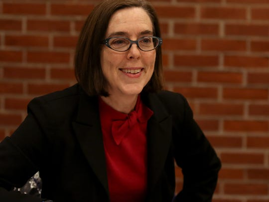 Kate Brown, Oregon secretary of state, talks with editorial staff at the Statesman Journal on Feb. 3.