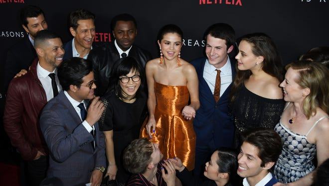 Some of the '13 Reasons Why' cast members with Selena Gomez at the premiere.