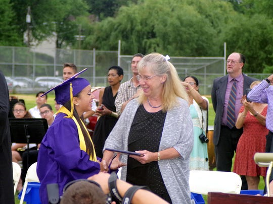 Councilwoman Mary Ellen Murphy at Bogota High School's graduation in a 2015 file photo.