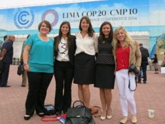 ACS Student Ambassadors at 2014 COP 20 in Lima, Peru.  From left York College students Kaitlyn Teppert & Shelby Bariana, with Nina Diklich (Aquinas College, MI), Jessica McDonald (Duke University, NC), and Jade Hovet (Augustana College, SD)