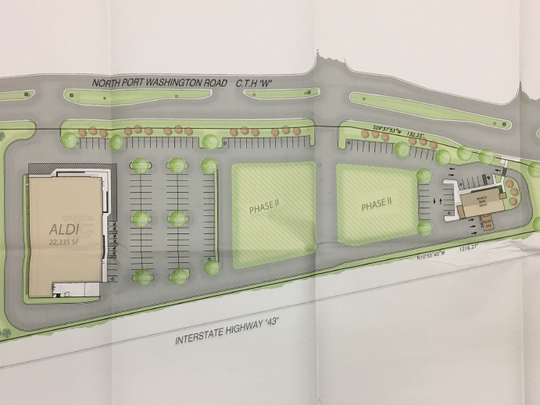 A developer has proposed building an Aldi grocery store and Associated Bank on Nicolet High School's upper field property just south of the Pick 'n Save shopping center at 6969 N. Port Washington Road.