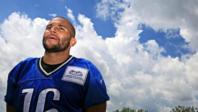 Detroit Lions wide receiver Lance Moore practices Wednesday, May 27, 2015.