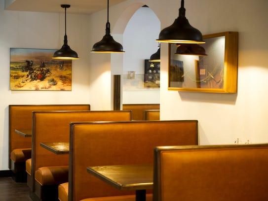 A dining area inside the newly built Alamo Steakhouse
