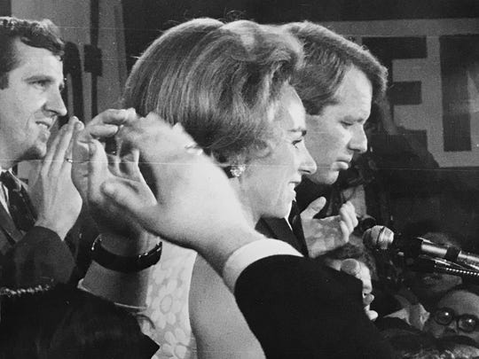 Kennedy victory celebration, Indianapolis campaign headquarters: left to right Mike Riley, Ethel Kennedy, Robert Kennedy, May 7, 1968