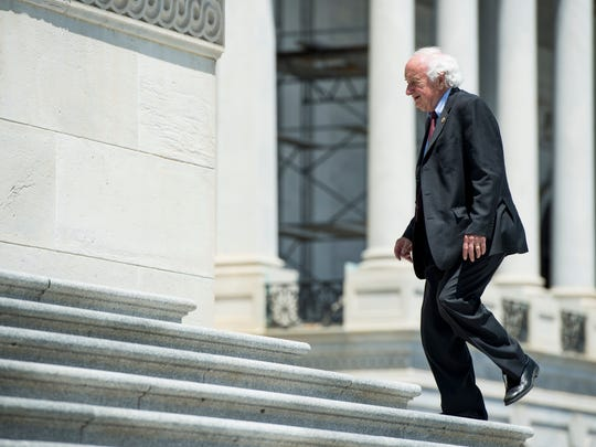 Rep. Sander Levin, D-Mich., arrives at the Capitol for the final votes of the week in Congress on Friday, June 10, 2016.