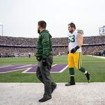 Green Bay Packers center Corey Linsley (63) walks off the field after getting injuredat TCF Bank Stadium in Minneapolis.