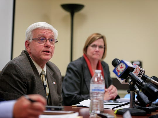 DHS Director Jerry Foxhoven announces that AmeriHealth Caritas will pull out of Iowa Medicaid management during a press conference Tuesday, Oct. 31, 2017.