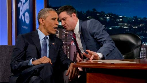 President Barack Obama talks with Jimmy Kimmel during a break in taping on Jimmy Kimmel Live, in Los Angeles Thursday, March 12, 2015.