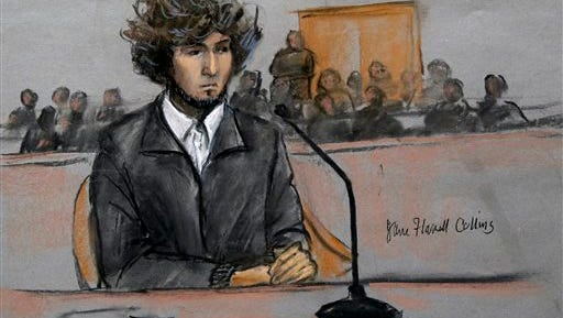 FILE - In this Dec. 18, 2014, courtroom sketch, Boston Marathon bombing suspect Dzhokhar Tsarnaev sits in federal court in Boston for a final hearing before his trial begins in January. More than 30 victims of the Boston Marathon bombing and their family members are expected to describe the attack's impact on their lives before a judge formally sentences Dzhokhar Tsarnaev to death. Tsarnaev's sentencing hearing is scheduled for Wednesday, June 24, 2015, in U.S. District Court. (Jane Flavell Collins via AP, File)