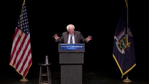 "Democratic presidential candidate Sen. Bernie Sanders, I-Vt., gestures while giving his ""Where We Go From Here"" speech, Friday, June 24, 2016, in Albany, N.Y."
