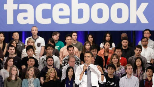 FILE - In this April 20, 2011, file photo, President Barack Obama gestures during a town hall meeting at Facebook headquarters in Palo Alto, Calif. The year Obama came into office, the White House joined Facebook, Twitter, Flickr, Vimeo, iTunes and MySpace. In 2013, the first lady posted her first photo to Instagram. In 2015, Obama sent his first tweet from @POTUS, an account which now has 11 million followers. This year, the White House posted its first official story on Snapchat, a promotion of the president's State of the Union address. White House officials said the focus on social media is simply a strategy of going to where people get their news.