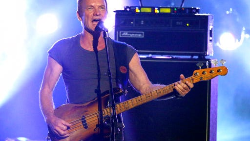 """FILE - In this Nov. 20, 2016 file photo, Sting performs a medley at the American Music Awards at the Microsoft Theater in Los Angeles. Sting has been added to Tanglewood's Popular Artists series this summer. He will make his debut at the summer home of the Boston Symphony Orchestra on Aug. 29 in support of his latest album, """"57th & 9th"""", released last November."""
