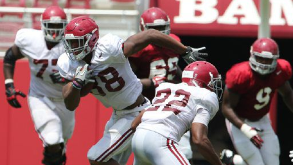 Sophomore O.J. Howard of Prattville is listed as the first-team tight end with senior Brian Vogler.