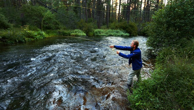 Evan Miller of Sequim, Wash., fishes the Metolius River near Camp Sherman. Evan Miller, of Sequim, Wash., fly fishes along the Metolius River, on Tuesday, July 14, 2015, near Camp Sherman, Ore.