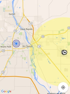 The map section of B4UFLY shows the controlled airspace surrounding St. Cloud Regional Airport. Use the app in this area, and it will tell drone operators they need to inform the airport.
