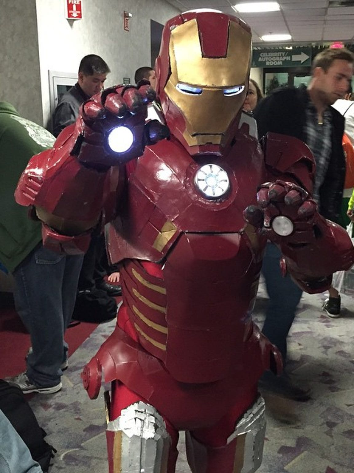 A con goer cosplays as Iron Man during Pensacon 2015