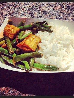 Spicy ginger tofu from Bangkok Bistro at Taste of Cincinnati 2014.