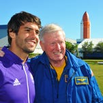 The Orlando City Soccer team was invited to watch the ULA Atlas V rocket launch today then take the VIP tour of Kennedy Space Center Visitor Complex, where they met up with veteran NASA astronaut Jon McBride. Kaka gets a photo op with astronaut Jon McBride in the rocket garden.