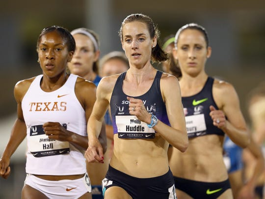Molly Huddle leads the pack on her way to a victory in the women's 5,000 meters last June at the USA Track and Field Outdoor Championships in Sacramento, California. She holds the U.S. women's record in the 5K, but plans to experiment by running the 10,000 this season.