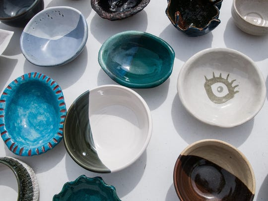 Pictured are various bowls made by the Potters' Guild