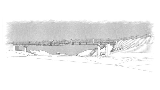 A view (looking north) of the pedestrian bridge design Otak Inc. had recommended for spanning Highway 305.