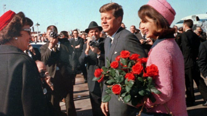 President John F. Kennedy and First Lady Jacqueline Kennedy arrive at Love Field in Dallas, on Nov. 22, 1963.