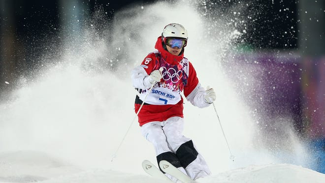Justine Dufour-Lapointe of Canada trains during moguls practice at the Extreme Park at Rosa Khutor Mountain ahead of the Sochi 2014 Winter Olympics on Feb. 3 in Sochi, Russia.