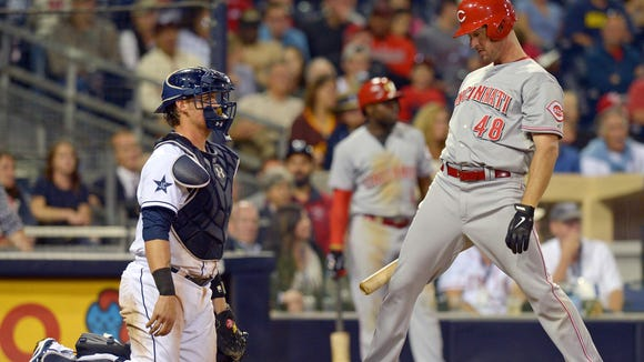 Reds outfielder Ryan Ludwick reacts to a strike call during the ninth inning Tuesday night at Petco Park.
