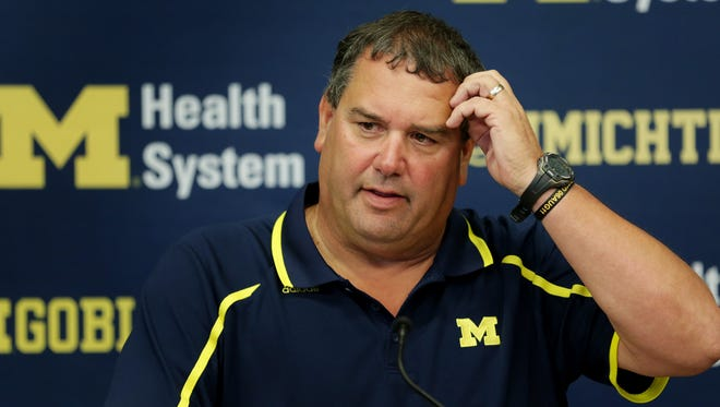 Michigan football coach Brady Hoke speaks during a news conference in Ann Arbor on Monday, Sept. 29, 2014.