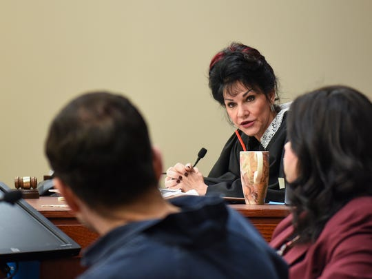 """Circuit Judge Rosemarie Aquilina addresses Larry Nassar Thursday, Jan. 18, 2018, about a letter he wrote the courts prior to the third day of victim impact statements.  She shut down Nassar's claims that her court was a """"media circus"""" as he had purported."""